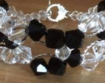 Black jet and crystal butterfly bracelet with toggle clasp