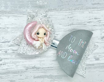 Love you to the moon and back Hair Bow, iridescent hair clip, girls birthday gift, clay embellished bow