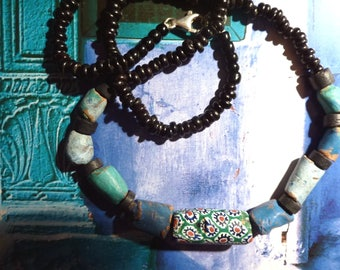 Rustic necklace ethnic beads millefiori glass, Earth and wood