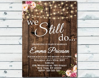 We Still Do Invite Vow Renewal Invitation Wedding Anniversary Invitations Wedding RSVP card Wedding vow renewal invites Boho chic 1082