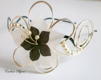 Ellen - Champagne flower headband ivory marronMARIAGE silk evening