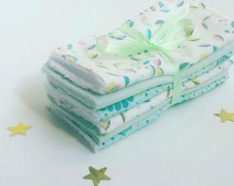 Set of 6 wipes washable cotton white blue green sponge Oeko-Tex certified bamboo wipes