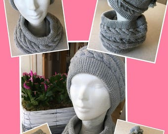 Hat and Snood cable hand knitted