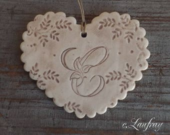 Big heart shabby style, Scalloped edges, beige, great original old earthenware ' it