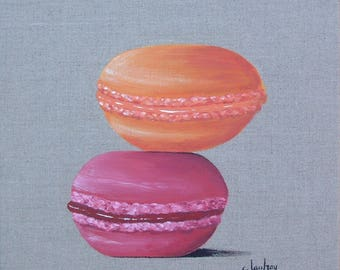 """Table """"Duo of macarons"""", painting on linen"""