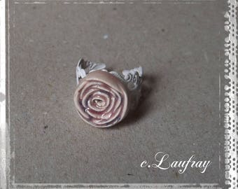 Ring romantic rose flower shaped earthenware