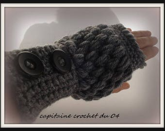 mitts woman/wool/wool/mittens gray mittens/winter gloves, Glove / Mitten grey/gift women/handmade crochet single model