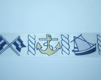 Sailor anchor and boat 2.5 cm x 1 meter Ribbon