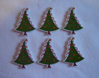 8 buttons Christmas tree / / 31 X 42 mm
