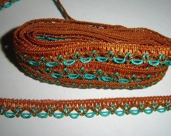 ORANGE lace Ribbon trim green & gold ¤ meter