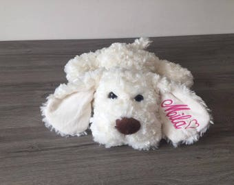 Plush dog with his necklace 40 cm with name embroidered in the ear - ecru