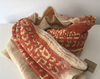 Orange felt + fabric scarf