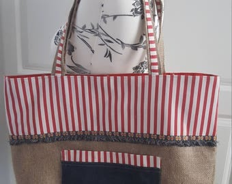 Large burlap tote bag
