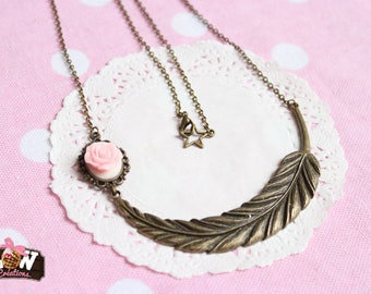 "Necklace - ""Freedom"", romance and soft pink"