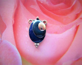 vintage charm oval glazed blue on silver metal for Center of necklace