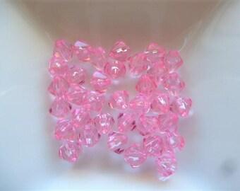 bicone beads 5 mm acrylic bicone beads pink translucent set of 35