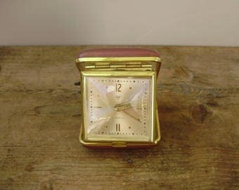 Vintage Travel Alarm Clock Wind Up, Vinyl Case