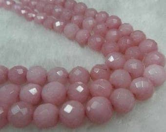 1 lot of 10 round mineral beads faceted 8 mm