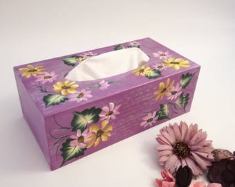 tissue wooden painted and drawn by hand, box rustic tissue tisue box