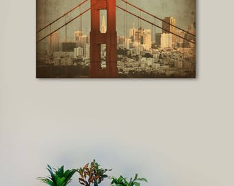Large Canvas Print Wall Art-Golden Gate Bridge closeup with San Francisco 36x24 inch Canvas Picture Stretched on Wooden Frame