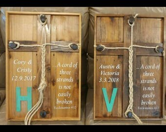 chord of 3 strands cross, braided rope cross, anniversary cross, wedding cross, Ecclesiastes 4:12, custom cedar braided cross