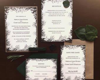 Woodsy Dark Forest Wedding Invitation Sets