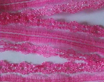pretty hot pink lace 1 meter shiny Ribbon