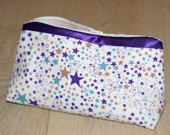 Kit toiletry makeup satin stars, zippered and lined pouch