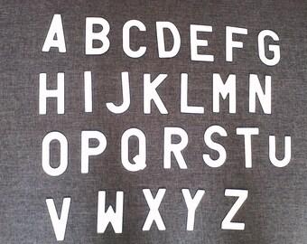 set of 26 letter alphabet White aluminium glitter from A to Z