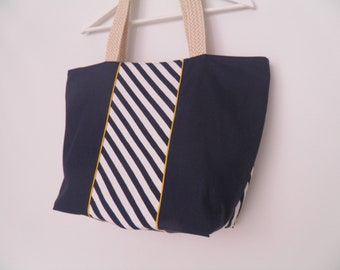 large tote Navy Blue striped zipped closure / unique creations / tessees handles