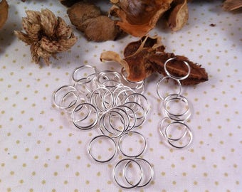20 jump rings, 12 x 1 mm, silver, round shape