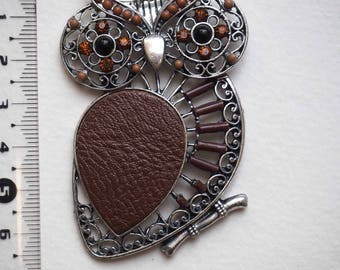 Large OWL charm on silver branch antique filigree with Brown beads 70x45mm