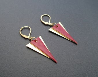 Burgundy red triangle - enameled jewelry earrings