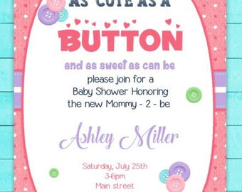 cute as a button baby shower invitation printable file itu0027s a girl baby shower
