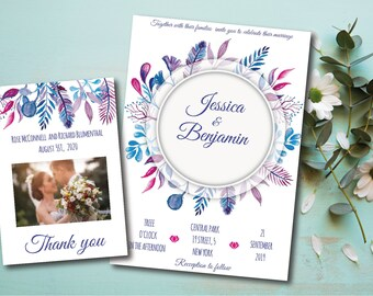 wedding invitation printable, Wedding templates, Blue and pink watercolor floralWedding invitations, Wedding Invitation Editable Text