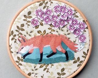 Hoop art, owl art, fox art, woodland, nursery, new baby, birthday, housewarming