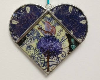 Custom Order Kathy Stained Glass Heart Suncatcher Butterfly Flower