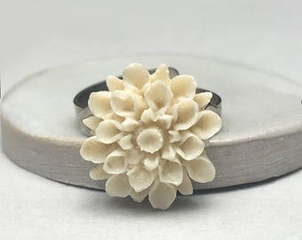 Delicate Porcelain Flower Adjustable Ring With Silver Band