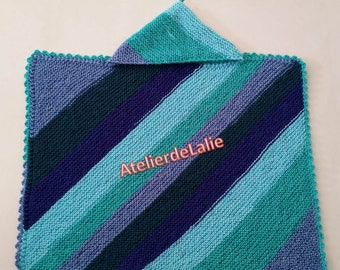 Blanket for crib, stroller, in shades of blue with detachable hood