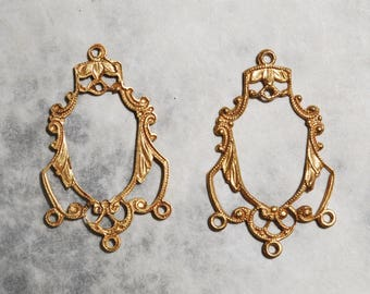 Lacy Victorian Chandelier Earring Drops Russian Gold Plated Brass (2)
