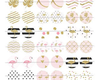 """Digital Board of 48 digital images for creating round cabochons 25mm (1 inch), """"PinkGoldFlamingo"""" theme"""