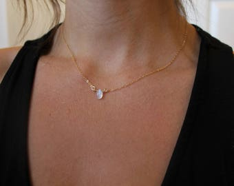 14k Rainbow Moonstone Necklace