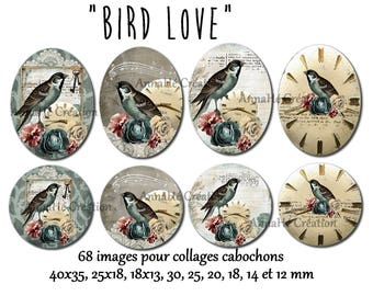 "Digital images for digital collage ""Birdlove"" cabochon jewelry"