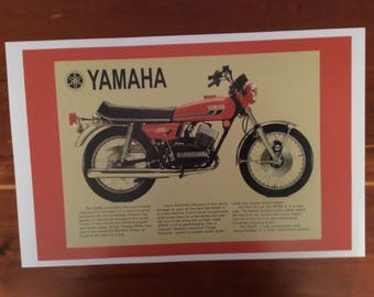 Vintage Yamaha motorcycle reproduction poster