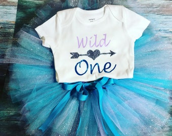 Baby girl wild one birthday tutu outfit
