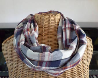 snood blue and white Plaid cotton and polyester
