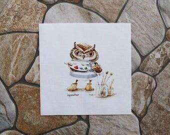 Patchwork OWL painter fabric coupon