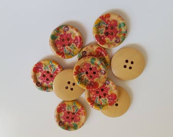 Set of 10 wooden circle with flower buttons