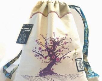 White Sakura cotton backpack