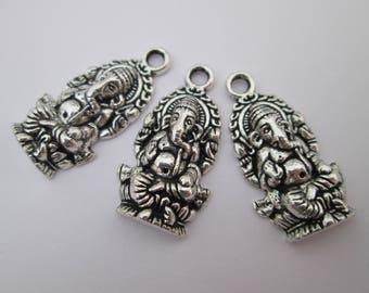 3 breloque éléphant ganesh 27 x 14 mm en métal argenté